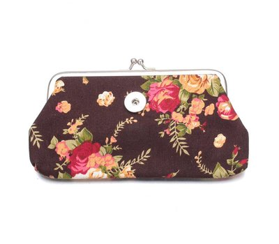 Clicks Sieraden Knip portemonnee groot bloemen bruin