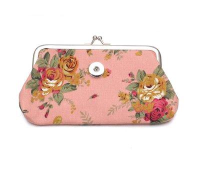 Clicks Sieraden Knip portemonnee groot bloemen roze