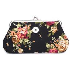 Clicks Sieraden Knip portemonnee groot bloemen zwart