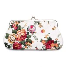 Portemonnee met foto Knip portemonnee groot bloemen wit met foto