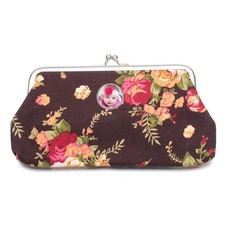 Portemonnee met foto Knip portemonnee groot bloemen bruin met foto
