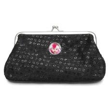 Portemonnee met foto Knip portemonnee pailletten groot zwart met foto