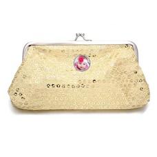Portemonnee met foto Knip portemonnee pailletten groot goudkleurig met foto