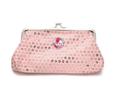 Portemonnee met foto Knip portemonnee pailletten groot licht roze met foto