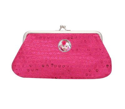 Portemonnee met foto Knip portemonnee pailletten groot donker roze met foto