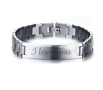 Armband met Naam Heren armband graveren zilverkleurig