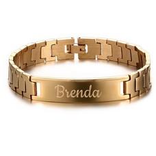 Armband met Naam Heren armband graveren goudkleurig