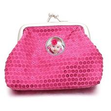 Portemonnee met foto Knip portemonnee pailletten roze met foto