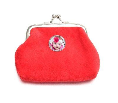 Portemonnee met foto Knip portemonnee fluweel rood met foto