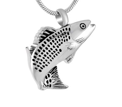 Ashangers Ashanger vis zilverkleurig inclusief ketting