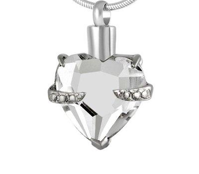 Ashangers Ashanger hart kristal zilverkleurig inclusief ketting