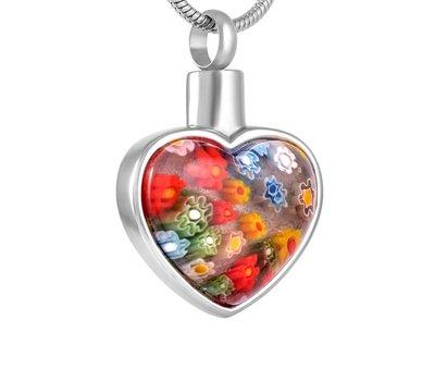 Ashangers Ashanger Murano hart zilverkleurig inclusief ketting