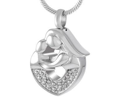 Ashangers Ashanger moeder en kind zilverkleurig inclusief ketting
