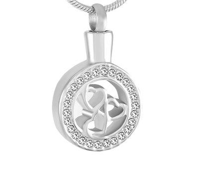 Ashangers Ashanger hartjes in rondje zilverkleurig inclusief ketting