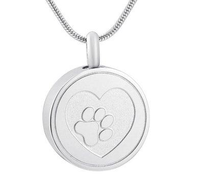 Ashangers Ashanger hondenpootje rond zilverkleurig inclusief ketting