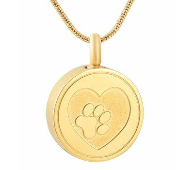 Ashangers Ashanger hondenpootje rond goudkleurig inclusief ketting