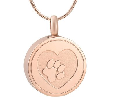 Ashangers Ashanger hondenpootje rond rose goudkleurig inclusief ketting