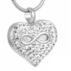Ashangers Ashanger hartje met infinity en crystals zilverkleurig