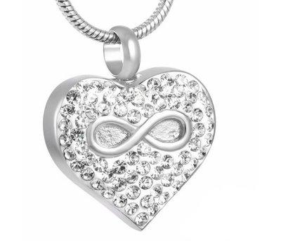 Ashangers Ashanger hartje met infinity en crystals zilverkleurig inclusief ketting