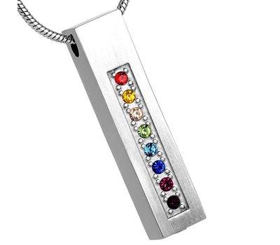 Ashangers Ashanger rechthoek multicolor zilverkleurig inclusief ketting