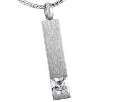 Ashangers Ashanger rechthoek crystal zilverkleurig inclusief ketting