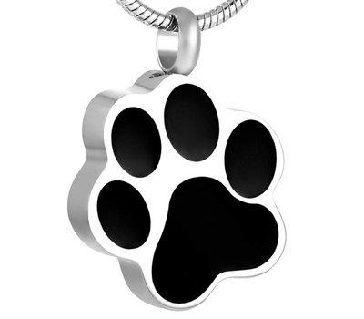 Ashangers Ashanger hondenpoot zwart zilverkleurig inclusief ketting