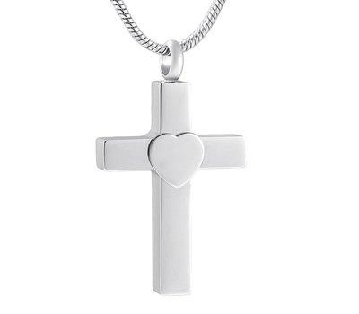 Ashangers Ashanger kruis met hartje zilverkleurig inclusief ketting