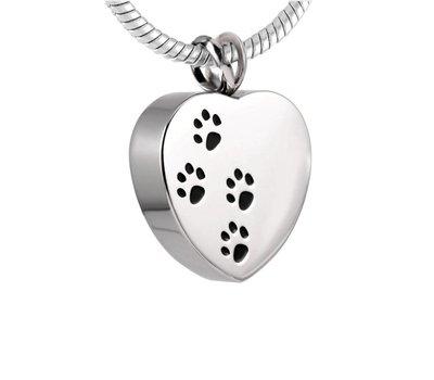Ashangers Ashanger hart met hondenpootjes zilverkleurig inclusief ketting