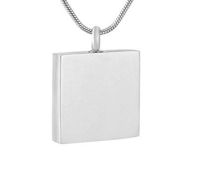 Ashangers Ashanger vierkant zilverkleurig inclusief ketting