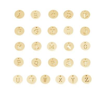 Bedels Letter bedeltje goudkleurig