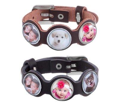 Armband met 3 foto's in zwart en bruin verkrijgbaar