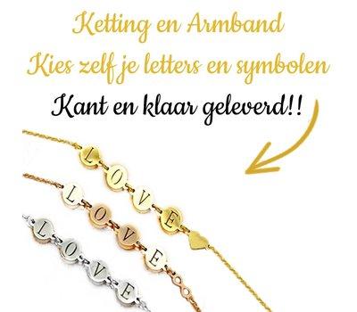 Kies zelf je letter of naam ketting of armband in Zilverkleurig en Goudkleurig