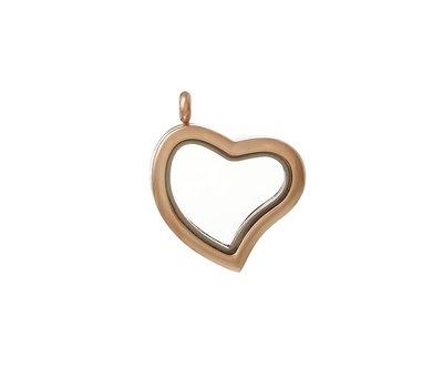 Floating locket Rosé goudkleurige memory locket hart gebogen