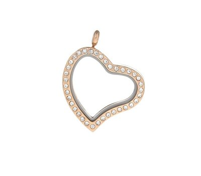 Floating locket Rosé goudkleurige memory locket hart gebogen strass