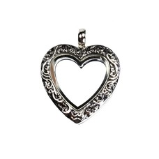 Floating locket Zilverkleurige memory locket hart vintage