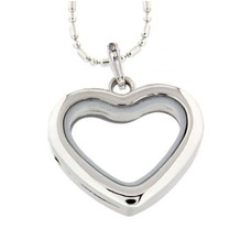 Floating locket Zilverkleurige memory locket hart met ketting