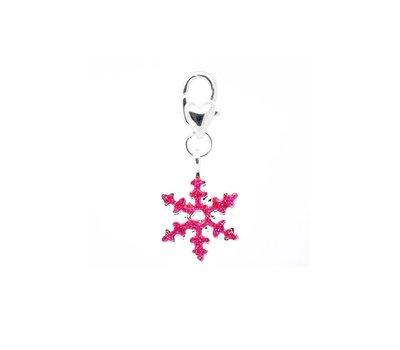 Clip on charms Sneeuwvlok met roze glitter dangle