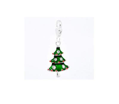 Clip on charms Kerstboom met crystals dangle