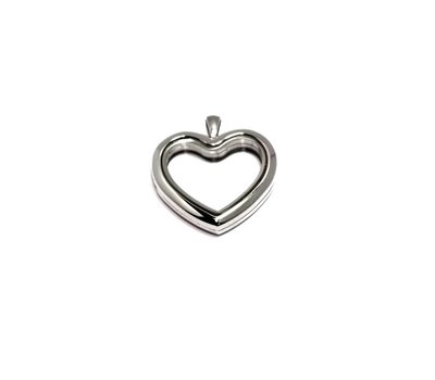 Floating locket Zilverkleurige memory locket hart