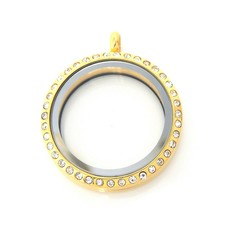 Floating locket Goudkleurige memory locket twist rond XL strass