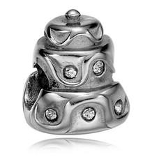 Bedels en Kralen Bedel bruidstaart zilver