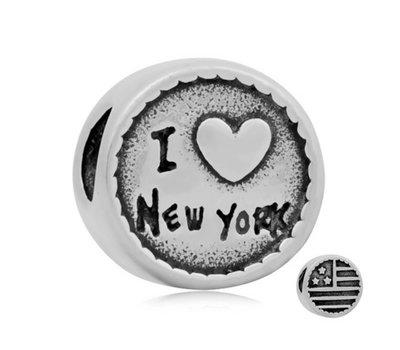 Bedels en Kralen Bedel New York zilverkleurig voor bedelarmbanden