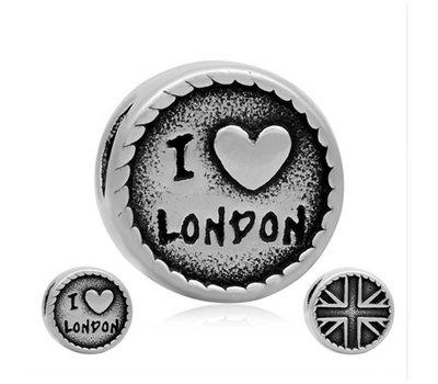 Bedels en Kralen Bedel Londen zilverkleurig voor bedelarmbanden