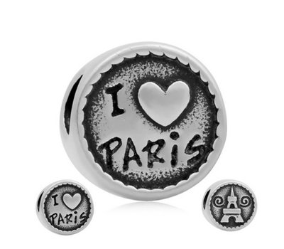 Bedels en Kralen Bedel Parijs zilverkleurig voor bedelarmbanden