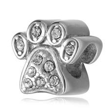 Bedels en Kralen Bedel hondenpoot crystal zilver