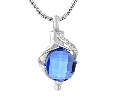 Ashangers Ashanger traan blauw zilverkleurig inclusief ketting