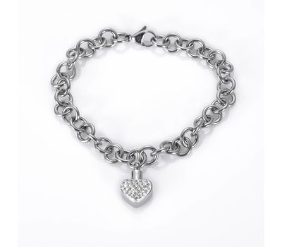 As Armbanden As armband met asbedel hartje met crysals zilverkleurig
