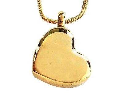 Ashangers Ashanger schuin hart goudkleurig inclusief ketting