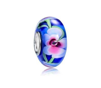 Glas Bedels Glas Bedel blauw met wit en roze bloem voor bedelarmbanden