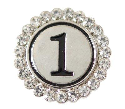 Clicks en Chunks | Click cijfer 1 zilverkleurig voor clicks sieraden